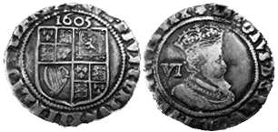 Sixpence Münze (Halb-Schilling) König James I. (1605)© | coingalore.co.uk